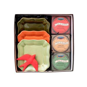 Gift Box Pratos, Andorinha de Cerâmica pintada à mão e Conservas Patés La Gondola