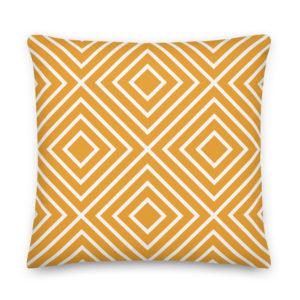 Almofada Padrão Geométrico Amarelo . Decoração Quarto . Decoração Sala . Alegre Portuguesa